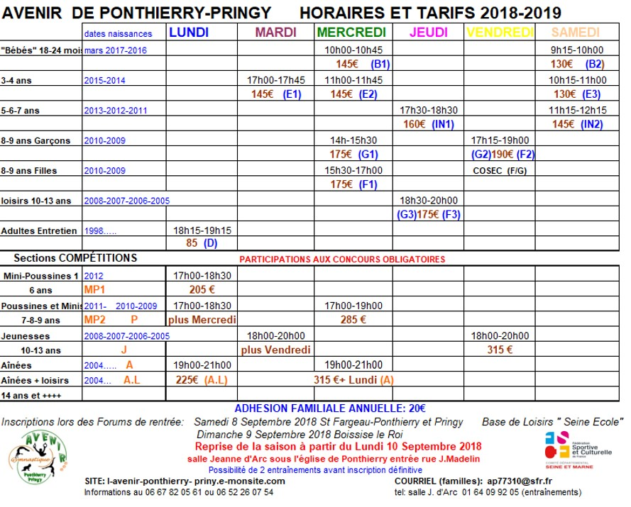 Horaires 2018 2019